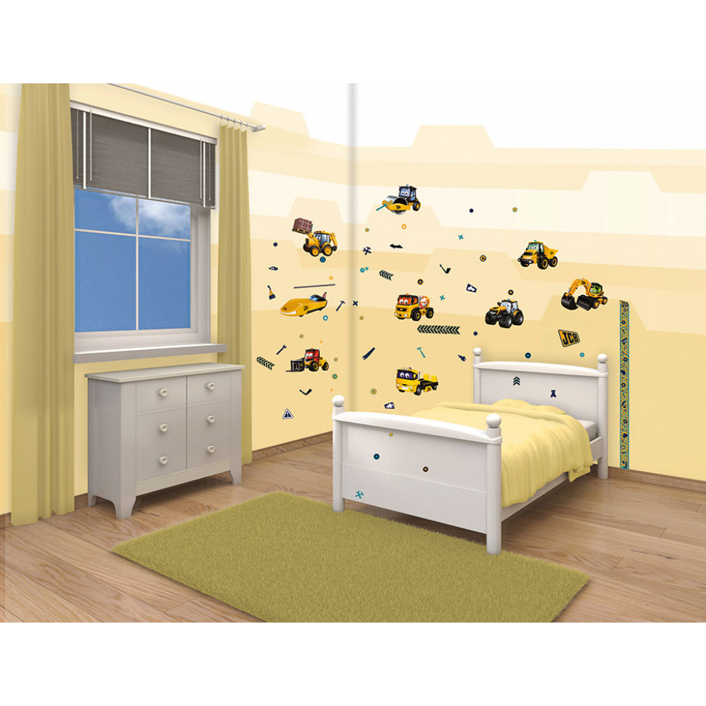 wandtattoo baustelle jcb wandsticker selbstklebend kinderzimmer baumeister junge ebay. Black Bedroom Furniture Sets. Home Design Ideas