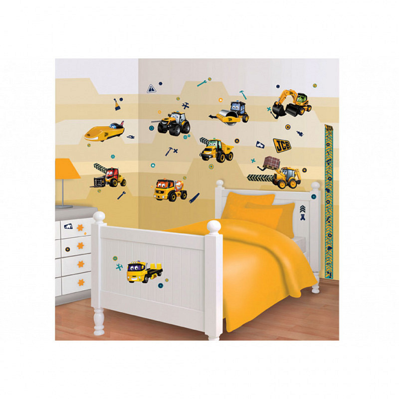 Wandtattoo Kinderzimmer Baustelle-JCB