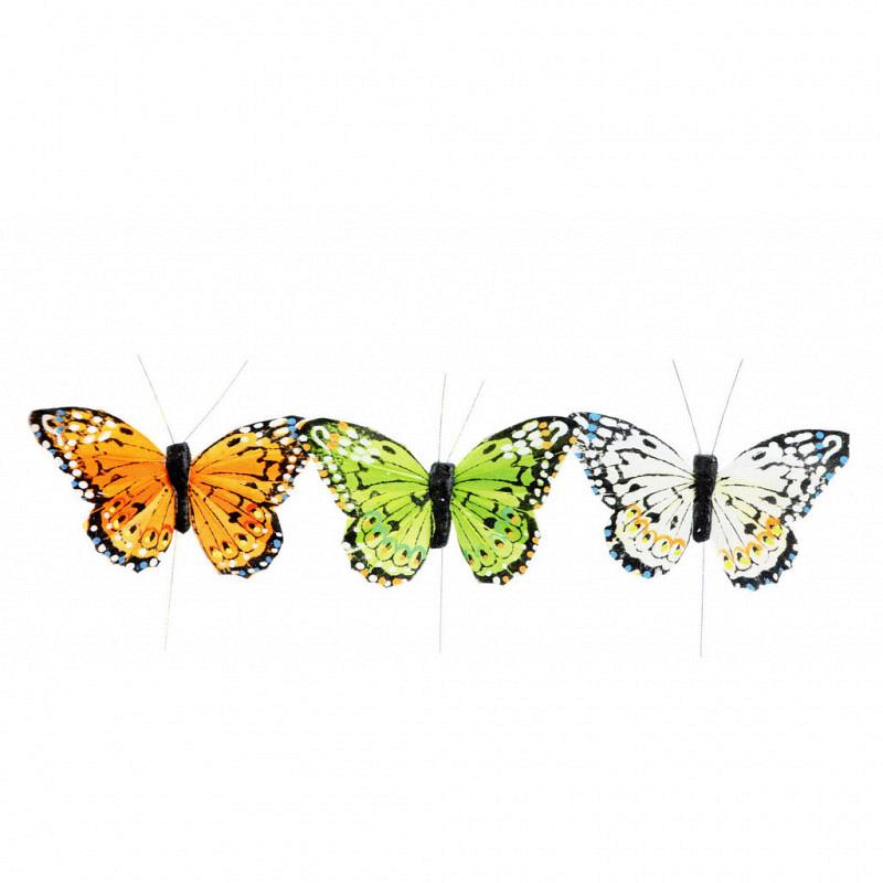 Feder-Schmetterlinge 12 Stück 10cm