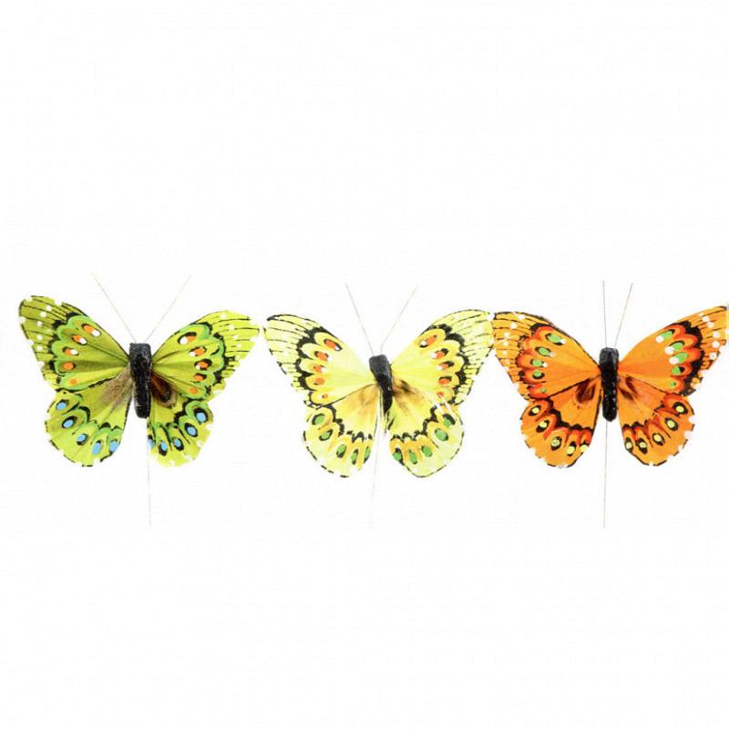 Feder-Schmetterlinge 12 Stück 9cm