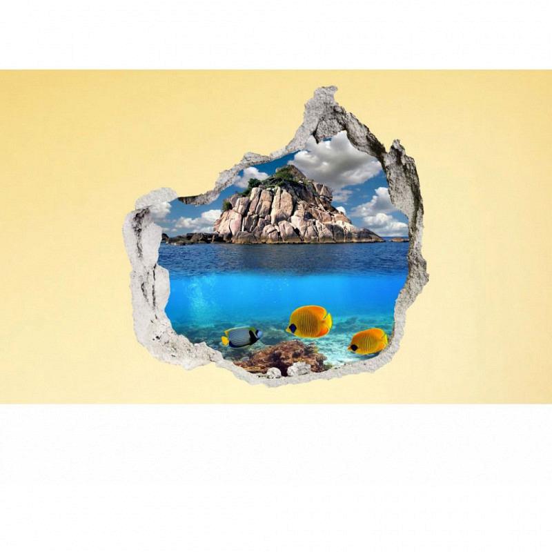 Wandsticker 3D-Optik Unterwasser Fische