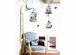 Wandsticker drei hängende Vogelkäfige mit Efeu