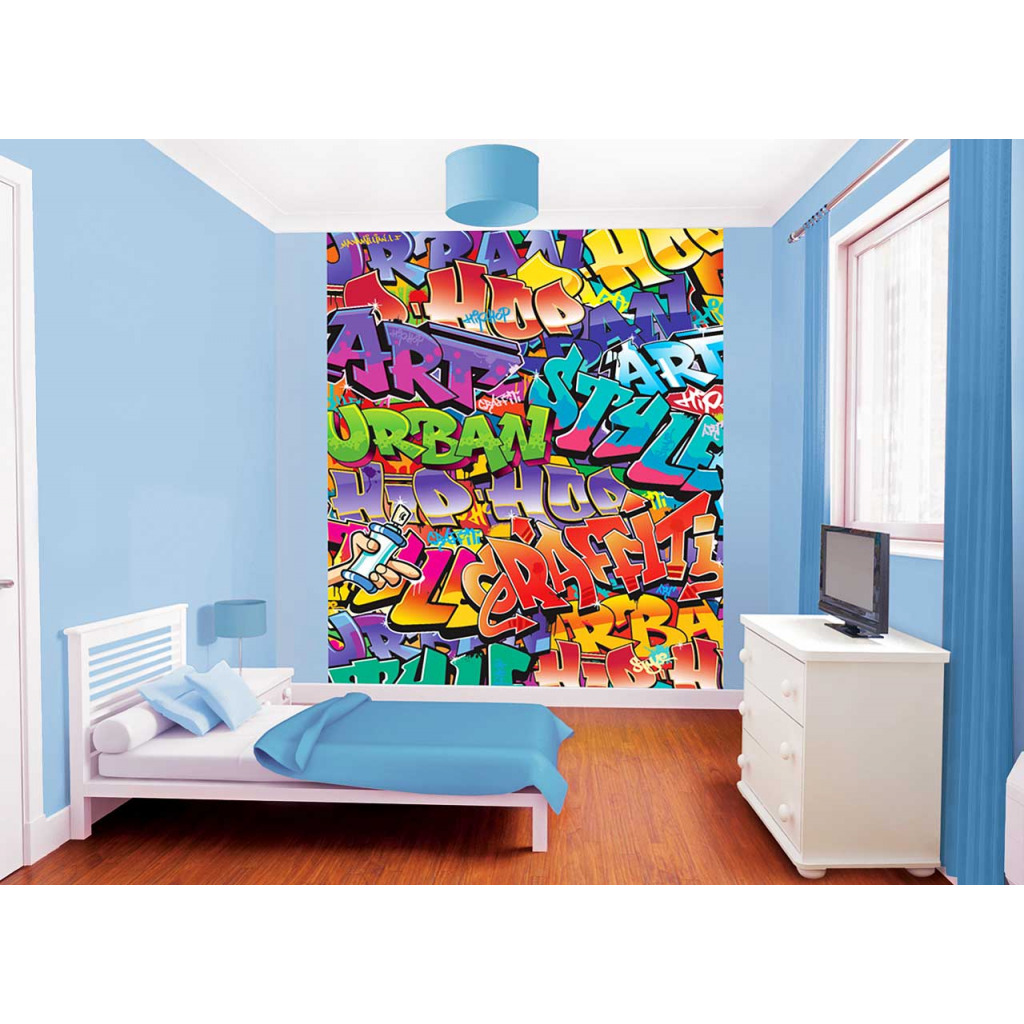 fototapete kinderzimmer wandbild graffiti sprayer urban. Black Bedroom Furniture Sets. Home Design Ideas