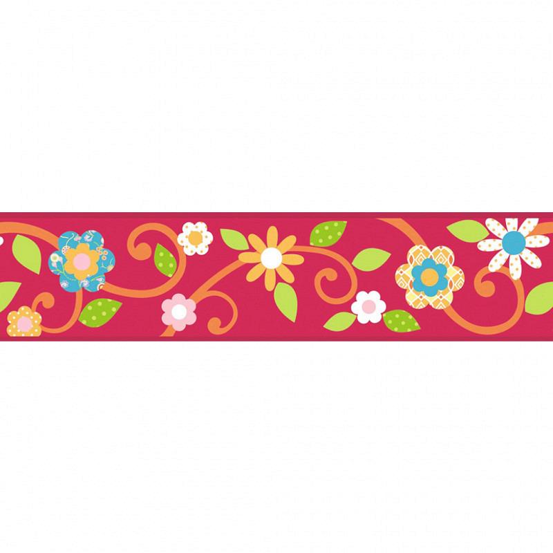 RoomMates Bordüre Floral Scroll rot selbstklebend