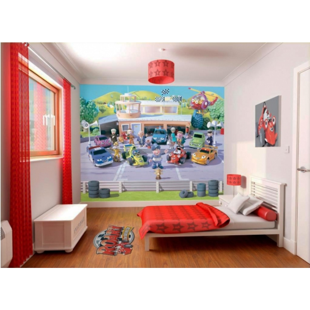 fototapete kinderzimmer wandbild auto autos roary the racing car jungen wanddeko ebay. Black Bedroom Furniture Sets. Home Design Ideas