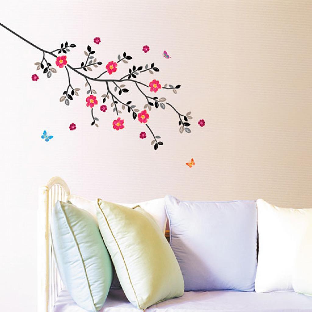 wandsticker baum mit bl ten wandtattoo fr hlingserwachen. Black Bedroom Furniture Sets. Home Design Ideas