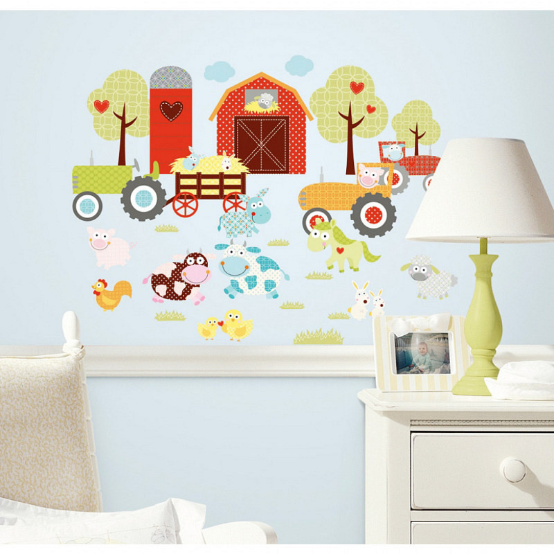 RoomMates Wandtattoo Sticker lustiger Bauernhof
