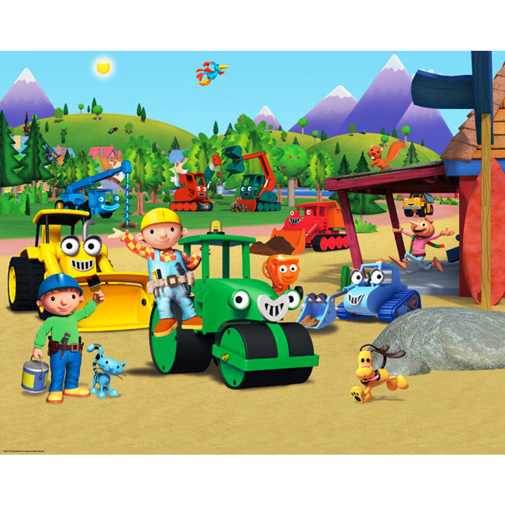 Fototapete kinderzimmer baustelle  WALLTASTIC Fototapete Kinderzimmer Wandbild Bob der Baumeister + ...