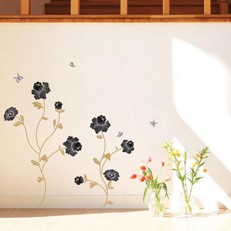 Wandsticker Wandtattoo Black Flowers