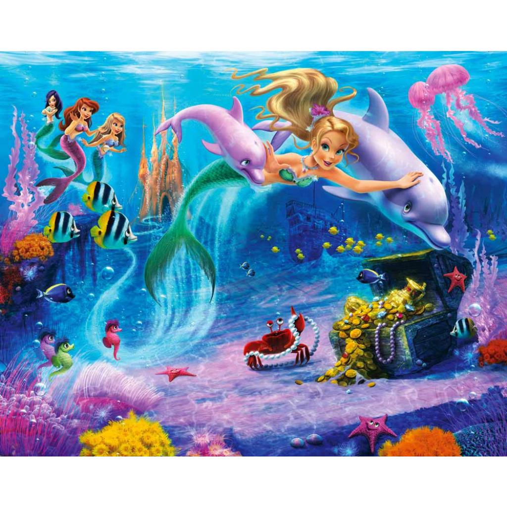 walltastic fototapete meerjungfrau unterwasserwelt delfin wandbild 3d optik neu ebay. Black Bedroom Furniture Sets. Home Design Ideas