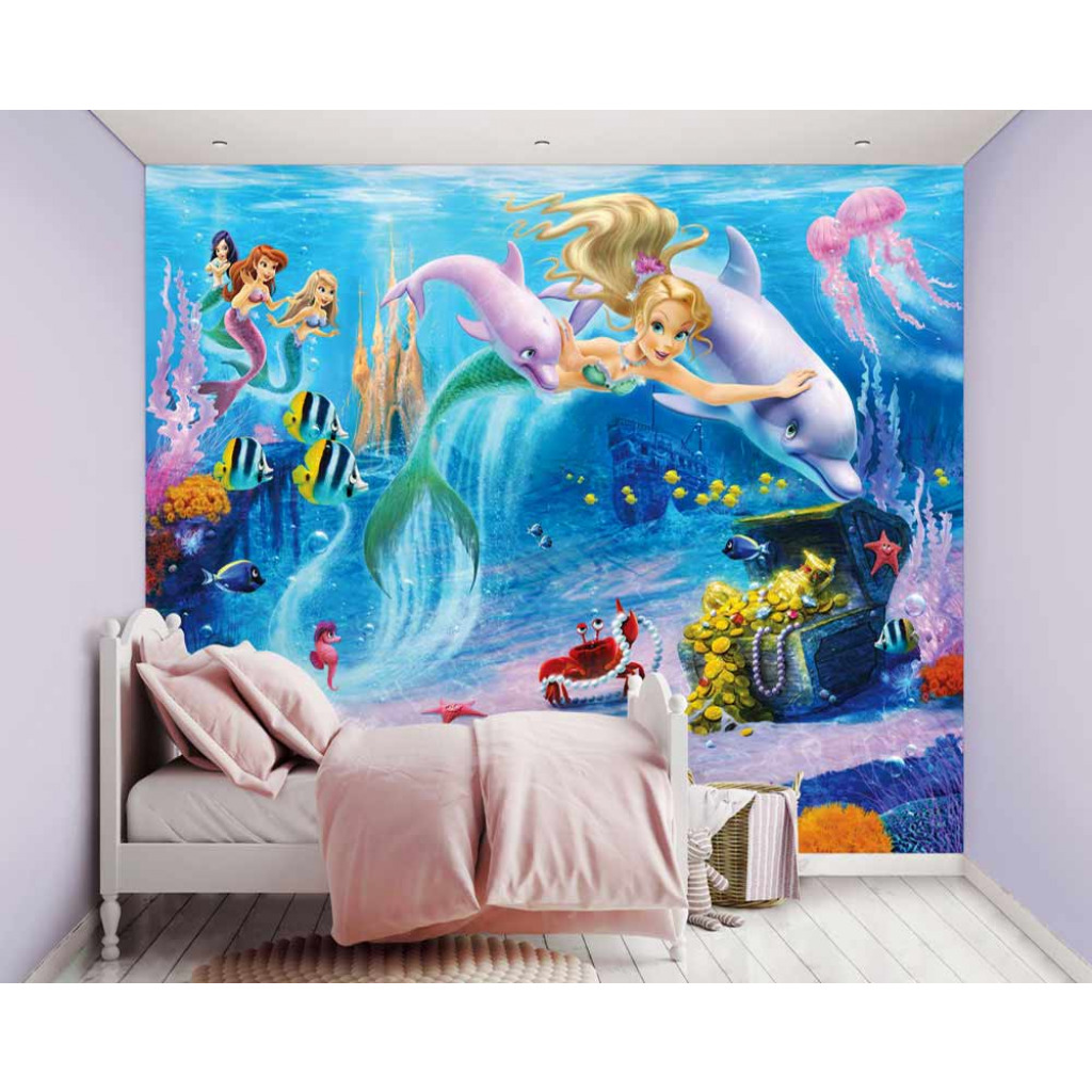 fototapete kinderzimmer wandbild meerjungfrau little mermaids unterwasserwelt ebay. Black Bedroom Furniture Sets. Home Design Ideas