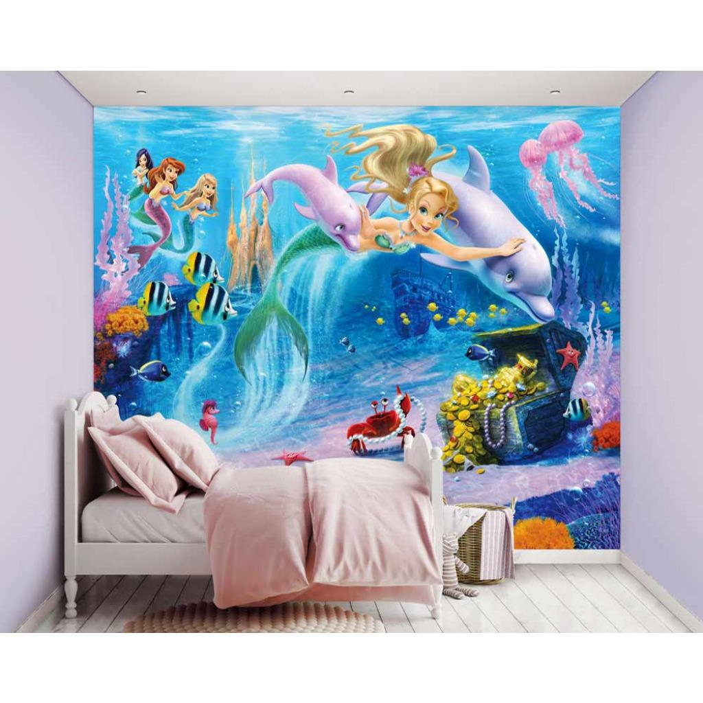 fototapete kinderzimmer wandbild meerjungfrau little mermaids unterwasserwelt ebay. Black Bedroom Furniture Sets. Home Design Ideas