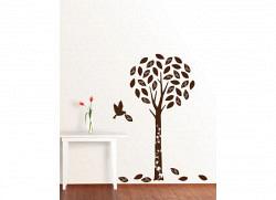 Wandsticker Baum in braunem Samt