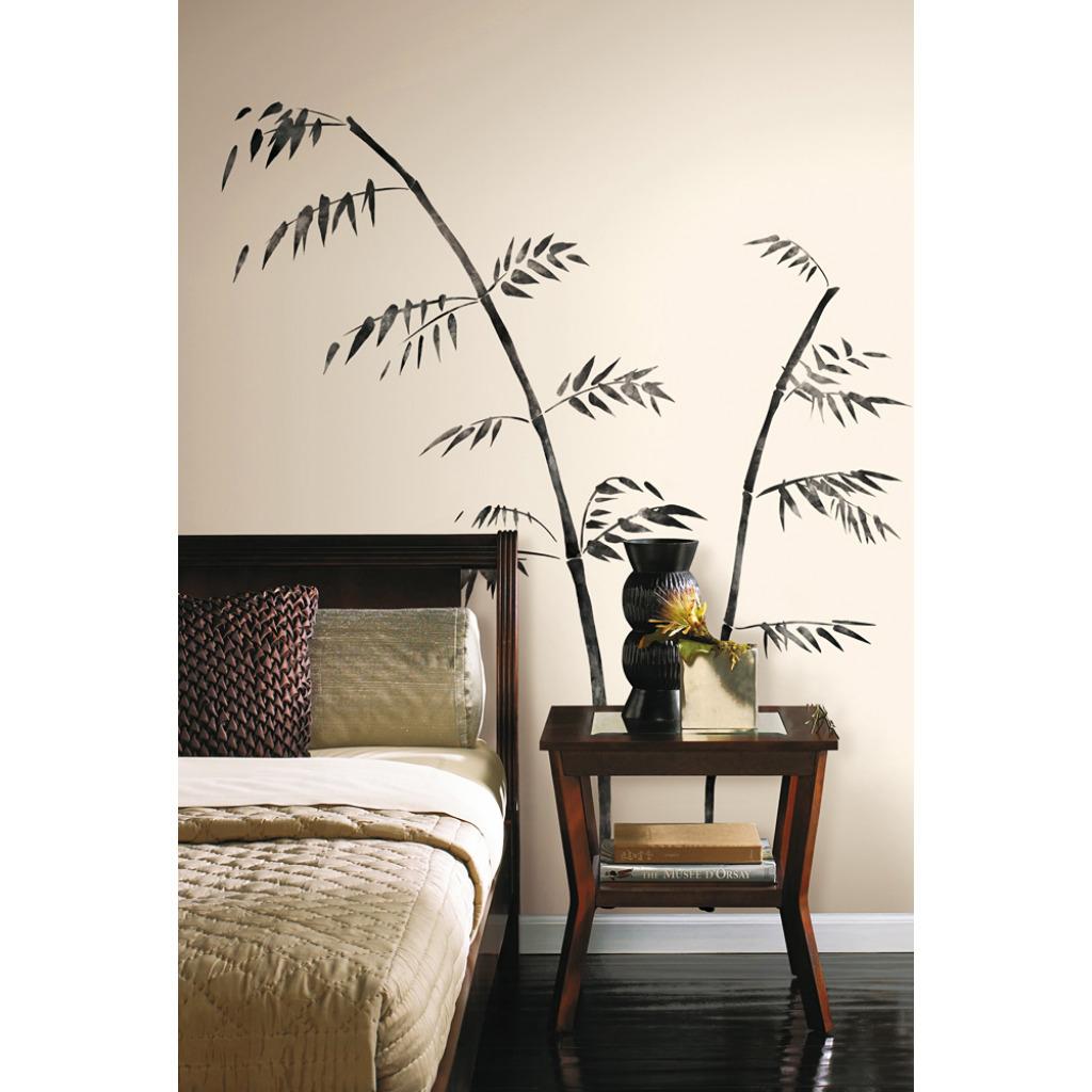 Roommates wandsticker asiatischer gemalter bambus wohnzimmer - Wandsticker bambus ...