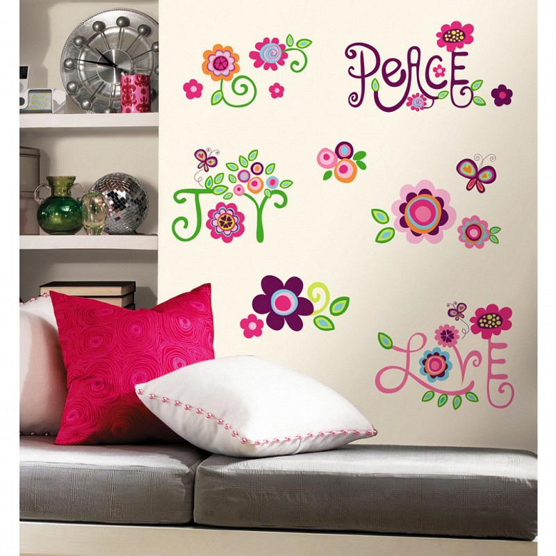 RoomMates Wandsticker Wandtattoo Love Peace Joy