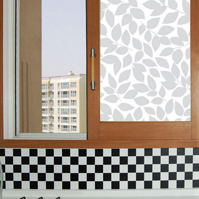 Fensterfolie selbstklebend Glitzer Laub Frost