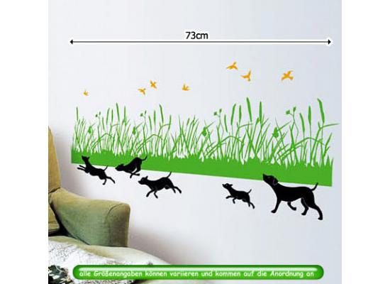 wandsticker wandtattoo windhunde rennen im gras wiese gr n. Black Bedroom Furniture Sets. Home Design Ideas