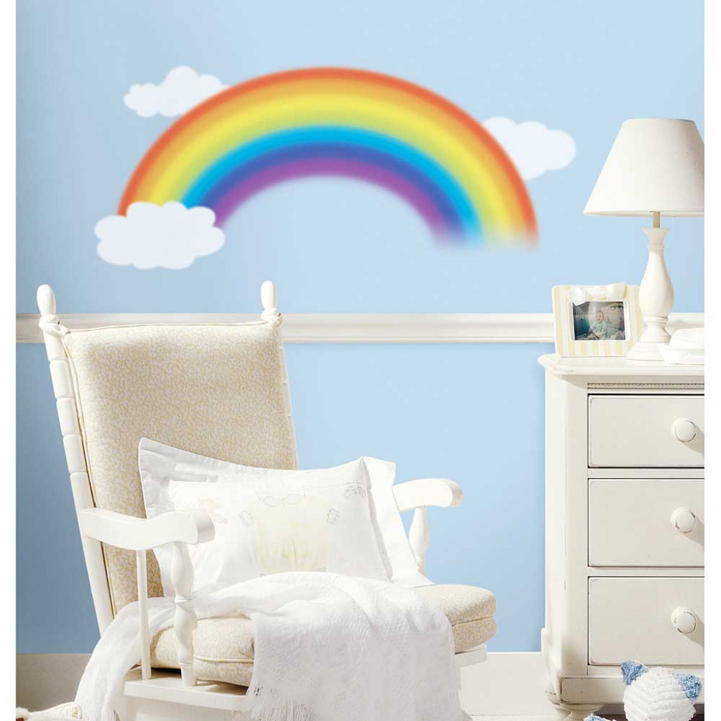 riesiger wandsticker wandtattoo regenbogen over the. Black Bedroom Furniture Sets. Home Design Ideas