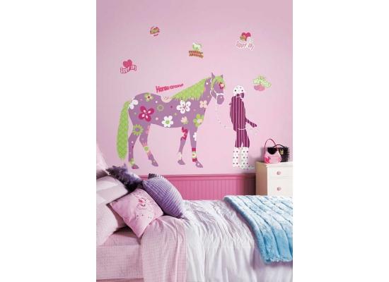 RoomMates Wandtattoo Wandaufkleber Wandbild Wandsticker Mega Pack Pferd Reiterin Kinderzimmer