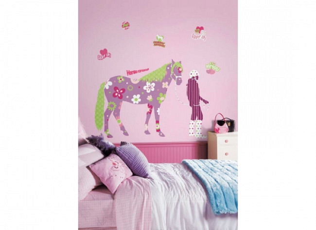 RoomMates Wandbild Wandsticker Pferd Reiterin