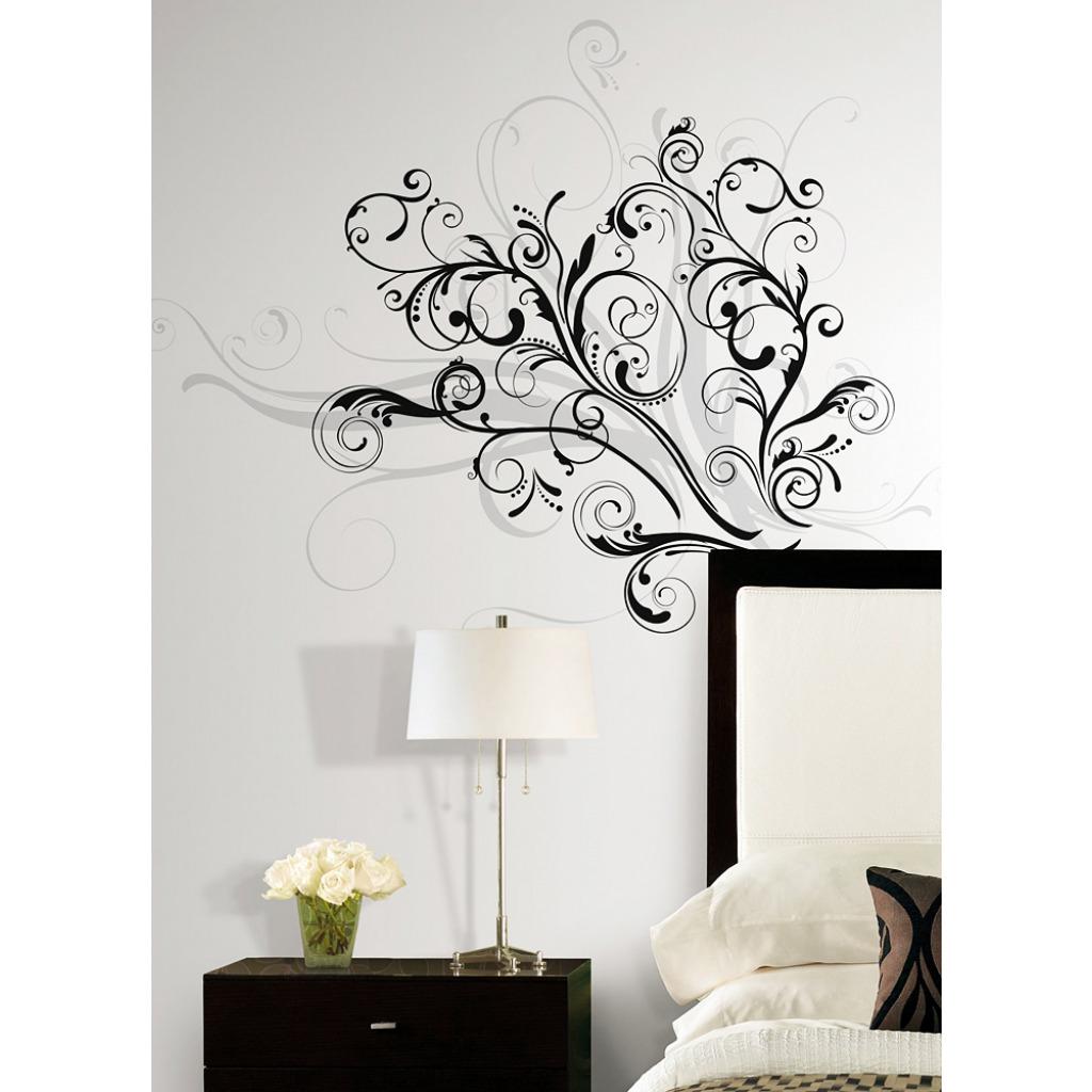 roommates wandsticker wandtattoo graphic scroll wohnzimmer. Black Bedroom Furniture Sets. Home Design Ideas