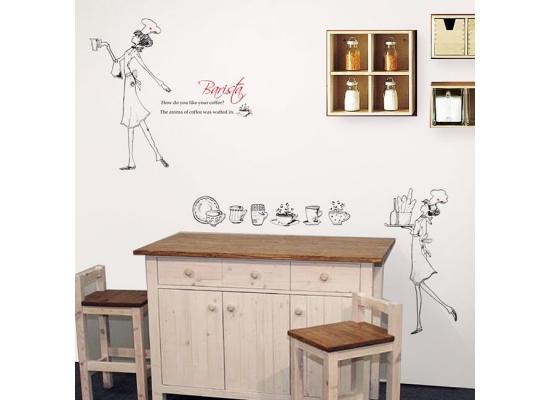 Wanddekoration Wandsticker Wandtattoo Wandaufkleber Barista Kaffee Espresso Küche