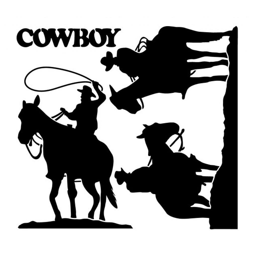 Wandtattoo fensterbilder drei cowboys schwarz wohnzimmer - Wandtattoo cowboy ...