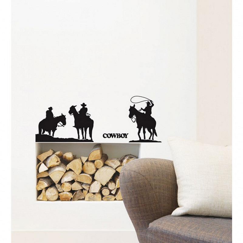 Wandtattoo Fensterbilder Drei Cowboys schwarz