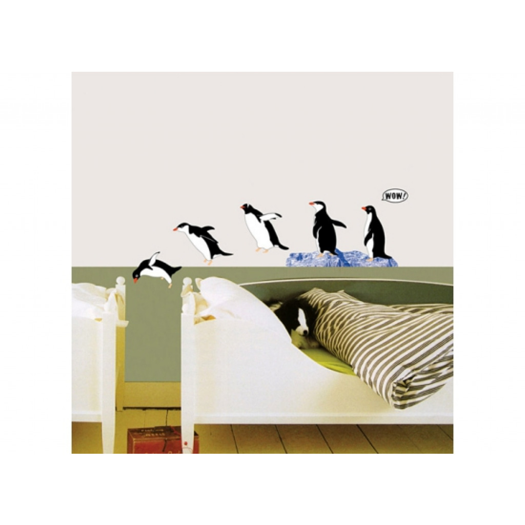 Wandsticker wandtattoo tauchende pinguine pinguin bad deko for Wanddeko bad