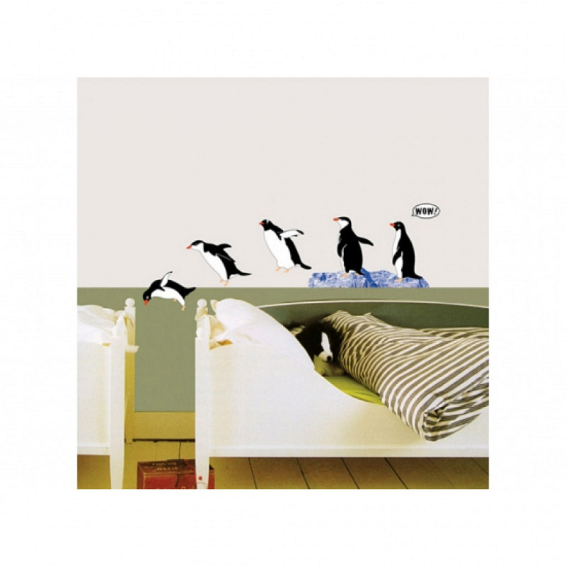 Wandsticker tauchende Pinguine Baddeko