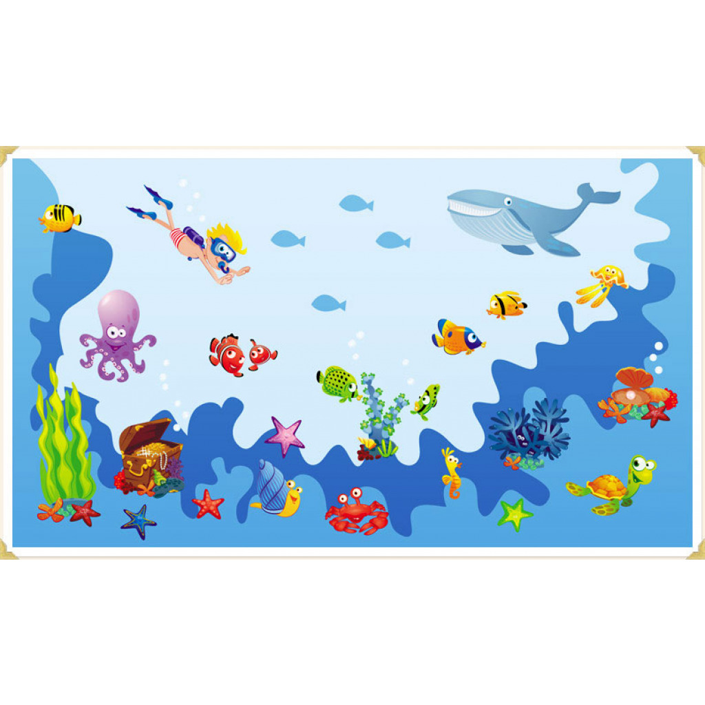 Wanddekoration Kinderzimmer Wandaufkleber Unterwasserwelt