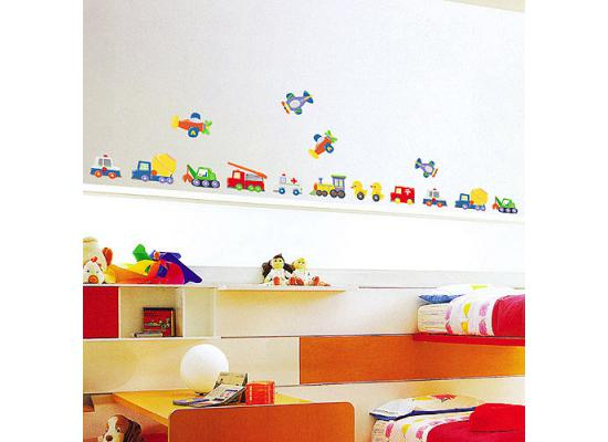 wandsticker wandaufkleber wandtattoo autos fahrzeuge kinderzimmer jungen ebay. Black Bedroom Furniture Sets. Home Design Ideas