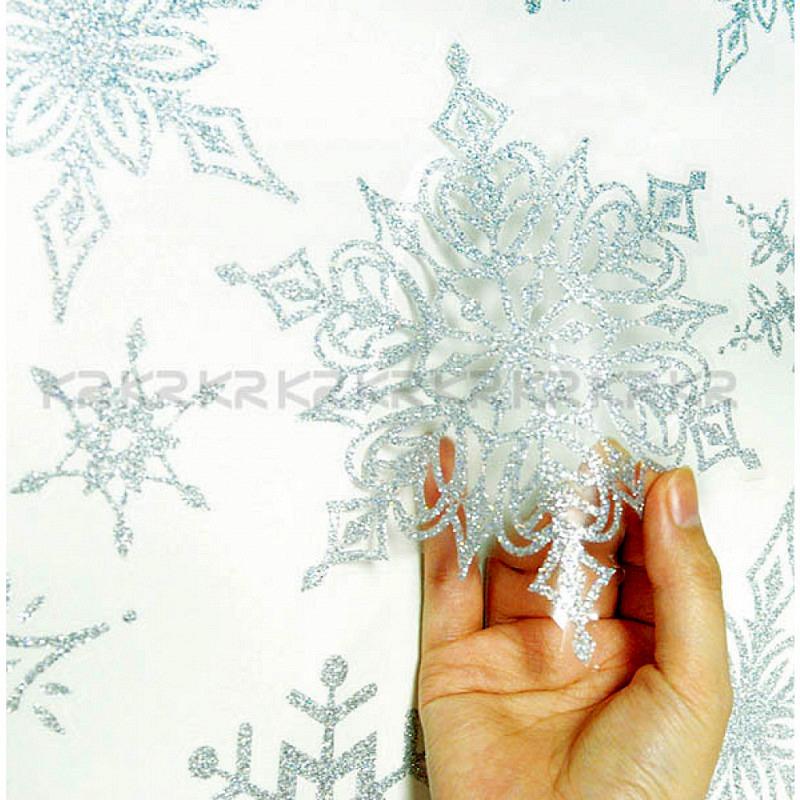 Wandtattoo Schneeflocken silbern glitzernd