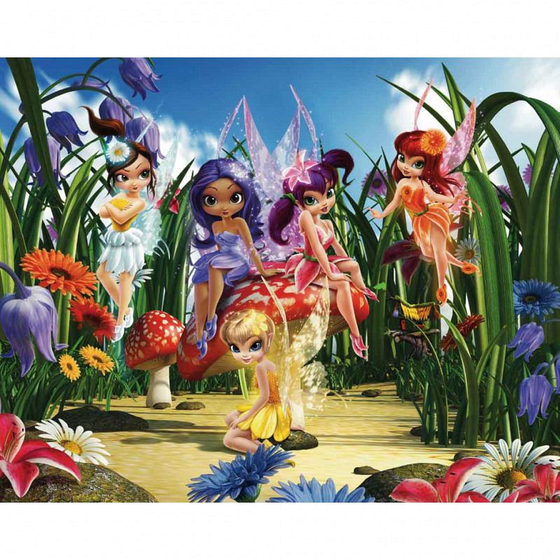 Fototapete Kinderzimmer Blumen-Elfen Feen