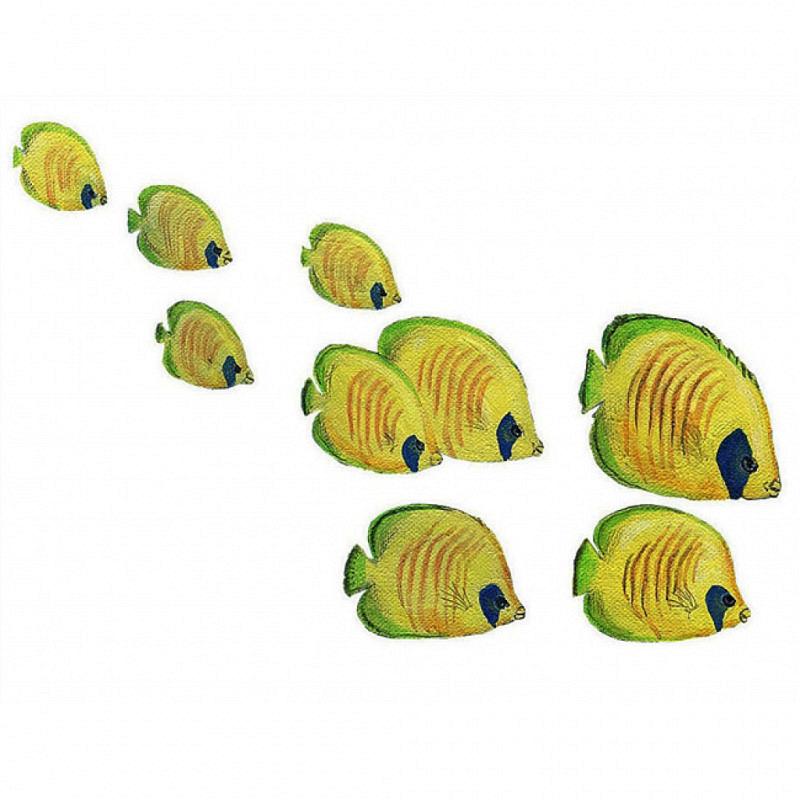Wandsticker Falterfisch Schwarm