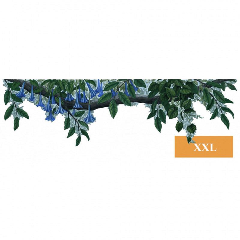 Wandsticker Bordüre Pflanze blaue Blüten