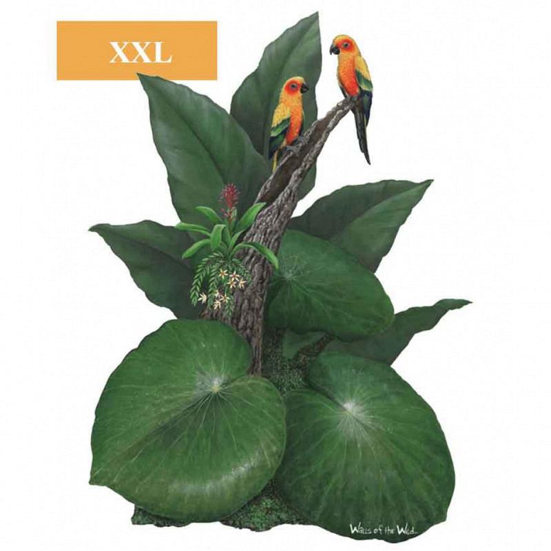 Wandsticker Dschungel Pflanze Blätterdach Papagei
