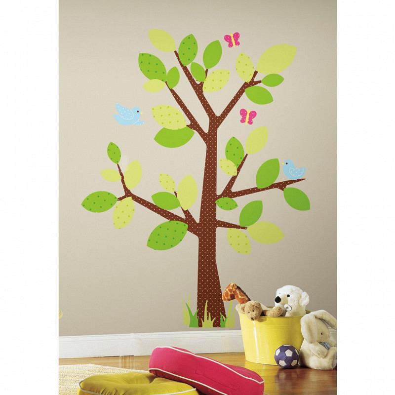 RoomMates Wandsticker Wandbild Punktebaum Vögel