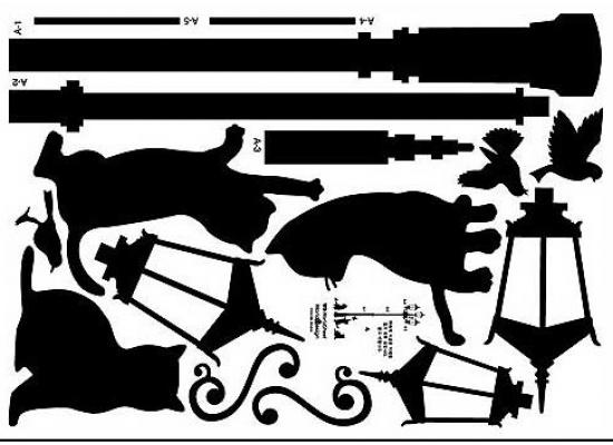 Schwarze Tapeten Bord?ren : Wandsticker Wandtattoo Wandaufkleber schwarze Katze unter der Laterne