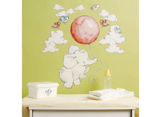 wandsticker baby elefanten in den wolken kinderzimmer. Black Bedroom Furniture Sets. Home Design Ideas