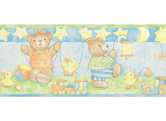 hyundae sheet bordüre tapeten borte bärenfamilie teddy babyzimmer
