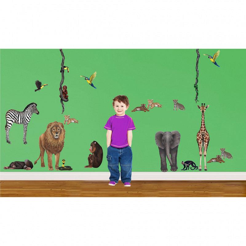 Wandsticker Dschungel Tiere Regenwald Komplettset