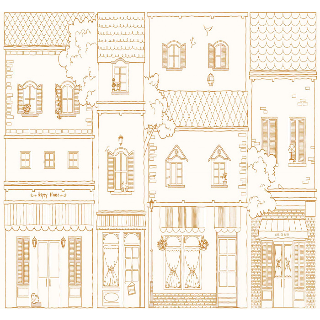 tapete stadt city b rgerh user hellbraun design muster. Black Bedroom Furniture Sets. Home Design Ideas