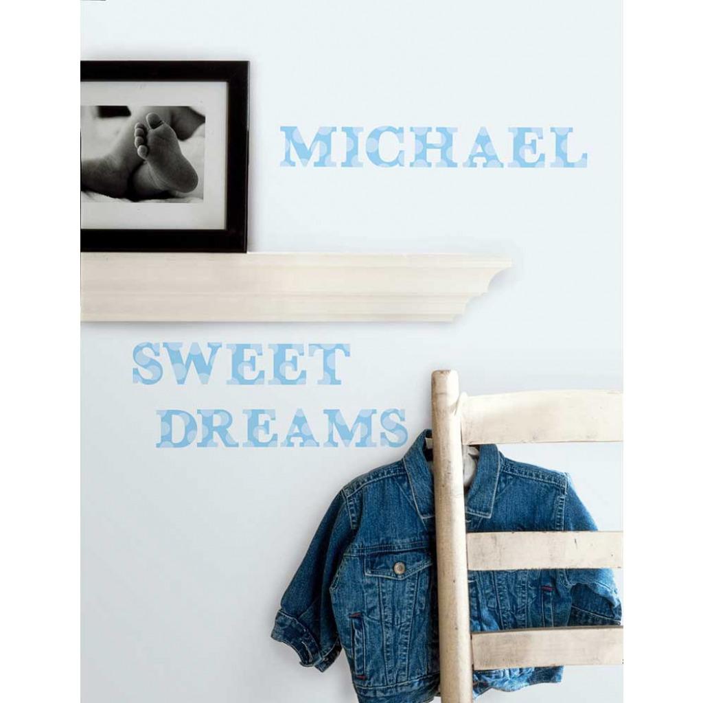 roommates wandsticker tattoo blaues alphabet kinderzimmer. Black Bedroom Furniture Sets. Home Design Ideas