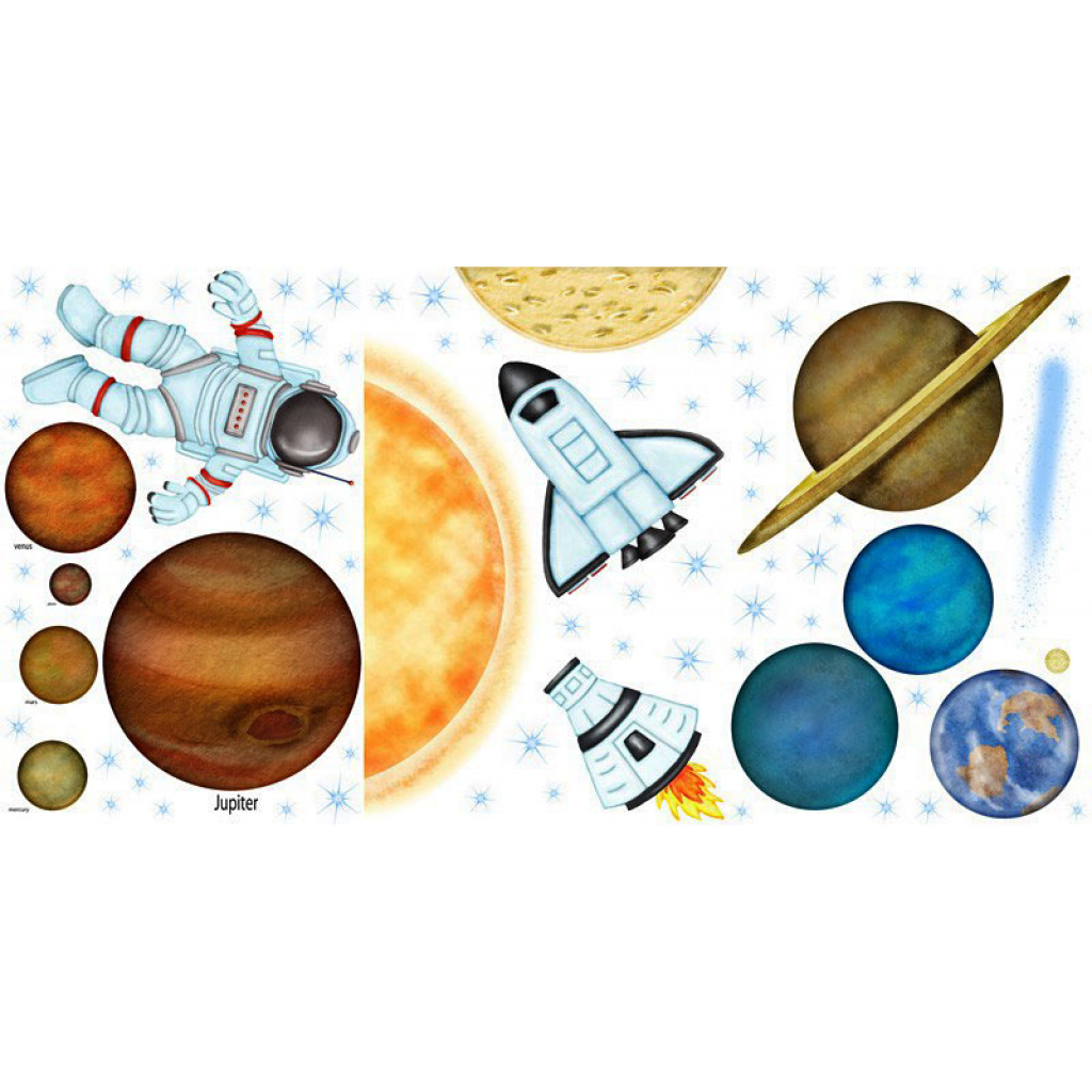 Borders Unlimited Room FX Wandsticker Weltall Planeten Space Shuttle