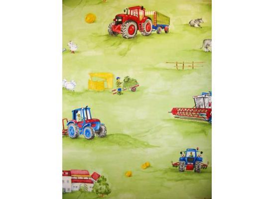 tapete traktor m hdrescher bauernhof tiere kinderzimmer wandtapete 2 00 1m ebay. Black Bedroom Furniture Sets. Home Design Ideas