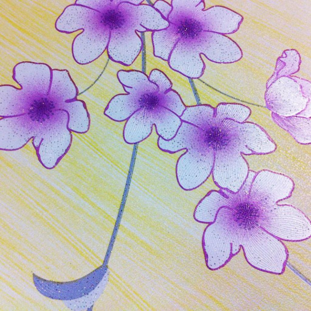 Selbstklebende Tapete Lila : Tapete selbstklebend Dekofolie Blumenranken Seideneffekt lila