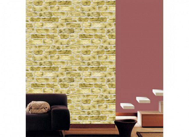 Tapete selbstklebend Steinmauer Kiesel beige