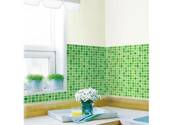 Tapete selbstklebend Dekofolie Mosaik Fliesen grün Bad Küche  www.4-haen.de