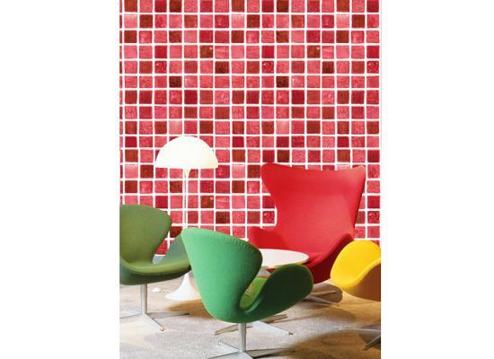 Selbstklebende Fliesen Tapete : Selbstklebende Fliesen Bad : Tapete selbstklebend Mosaik Fliesen rot